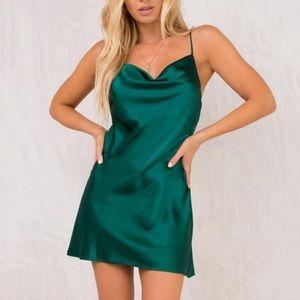 Green Drape Front Evening Dress